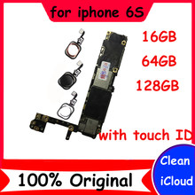 for iphone 6S original unlocked motherboard 16GB 64GB 128GB mainboard with clean icloud logic board+chip with / without touch ID(China)