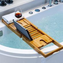 Extendable Bamboo Bathtub Tray Wooden Bath Organizer Rack Bathroom Book Wine Tablet Holder Reading Shelf Bath Tray HWC