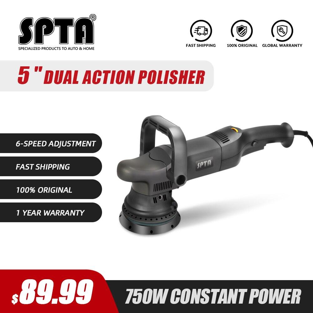 Spta 750w 5 polegada dupla ação polisher órbita 15mm polidor automático de velocidade variável polidor polir máquina casa diy carro polidor