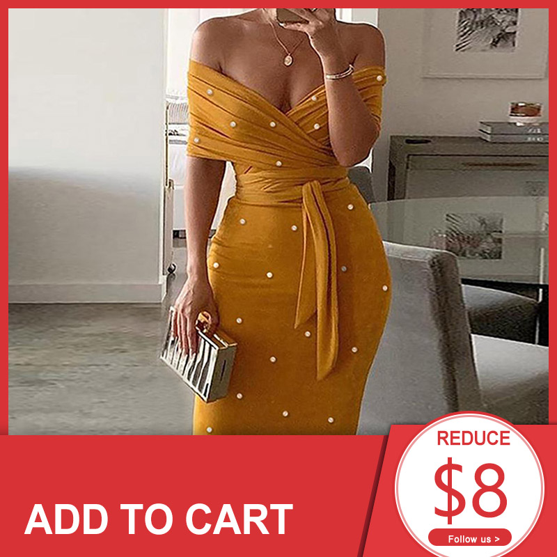 Sexy Off Shoulder Cocktail Party Dresses Women Beading Belted Bodycon Office Dress 2020 Spring Summer Slim Backless Vestidos