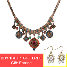 Vintage Bohemia Style Fashion Jewelry Gold Plated Round Shape Colorful Resin Stone&Beads Pendants Statement Necklace for Women цена