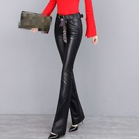2020 Genuine Leather Womens Long Pants Loose Fit High Waist Female Trousers Casual New Fashion Flare Pants Winter Sheepskin Zip