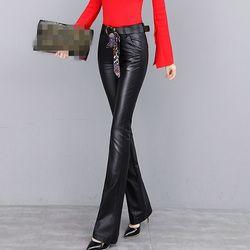 2020 echtem Leder Frauen Lange Hosen Lose Fit Hohe Taille Weibliche Hose Casual Neue Mode Flare Hosen Winter Schaffell Zip