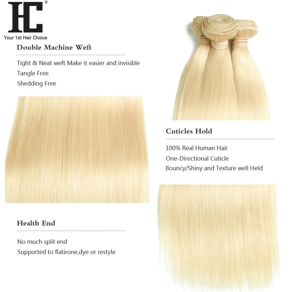 HC 613 Bundles With Frontal Blonde 3 Bundles With 13X4 Closure Remy 613 Brazilian Straight Human Hair Weave Bundles With Frontal