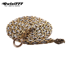 Oulai777 mens necklace stainless steel Oriental dragon long men ccessories gold chain silver punk personalized