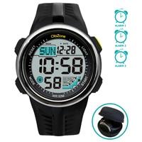 Reloj Digital resistente al agua para hombres y adolescentes, cronómetro con alarma, doble horario, 60 y 3 años, color negro, 15 a 20 años