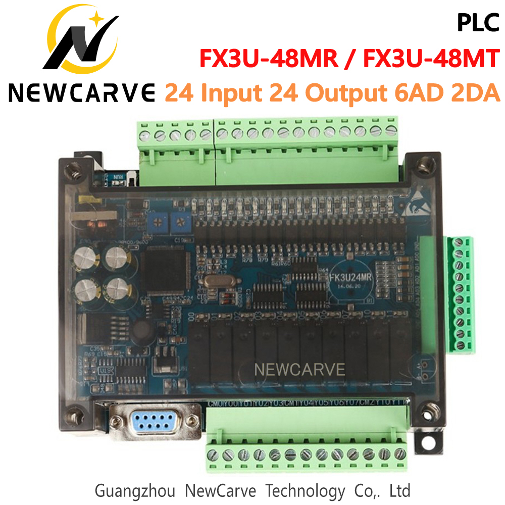 FX3U-48MT FX3U-48MR PLC Industrial Control Board 24 Input 24 Output 6AD 2DA With RS232 RS485 Communication NEWCARVE