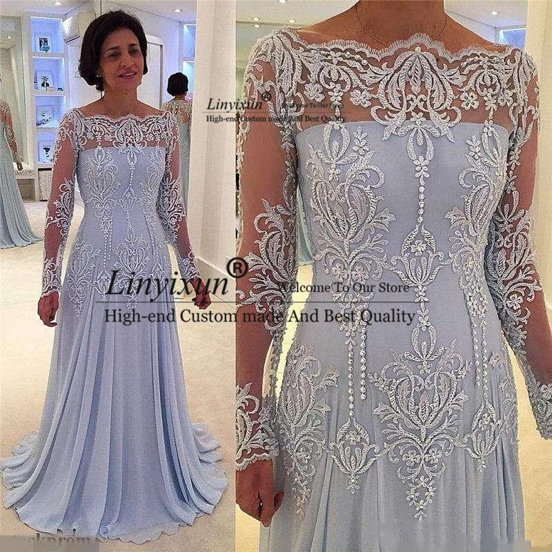 Vintage Long Sleeves Mother Of Bride Dresses 2020 Lace Appliques Mother Dresses Floor Length Court Train Prom Dresses