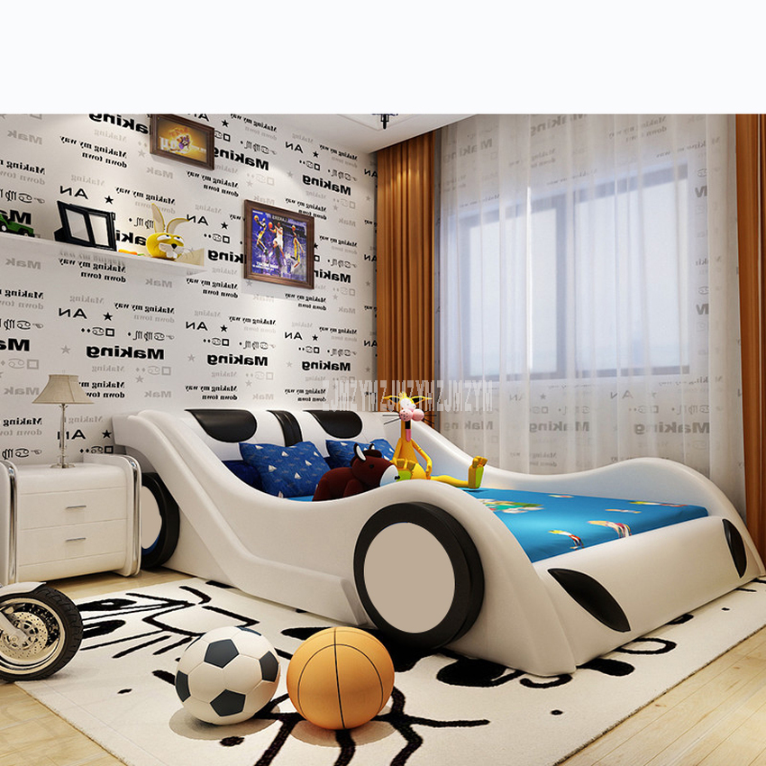 1.2m/1.35m/1.5m/1.8m Children Bed With Mattress Bedside Cabinet Home Bed Child Bedroom Furniture Car Design Solid Wood Leather