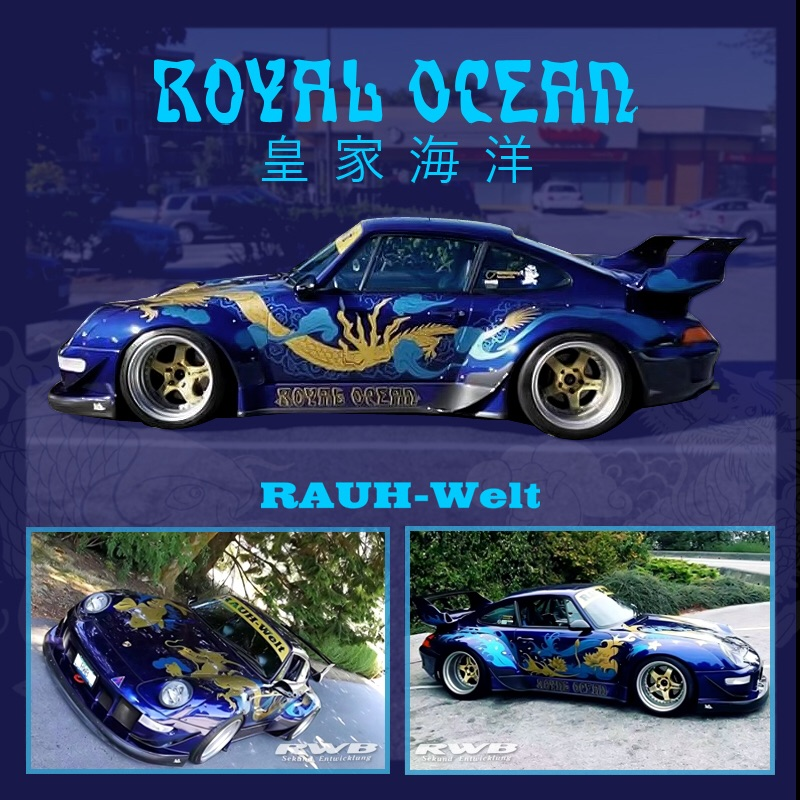 Time Model 1:64 Rauh-Welt RWB 993 Royal Ocean Blue Diecast Model Car