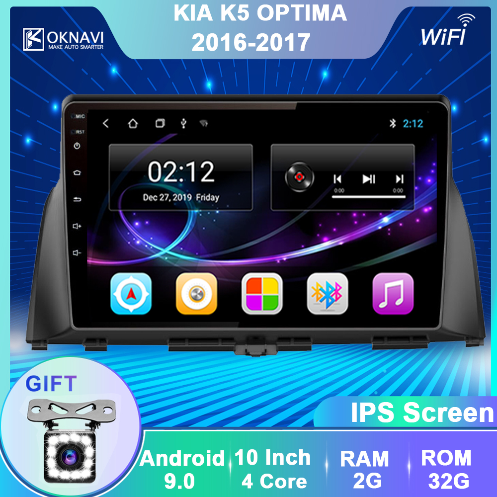OKNAVI Android 9,0 Car Multimedia Audio-Player Für KIA Optima K5 2016 2017 GPS Navigation Stereo Bluetooth WIFI SWC 2 din Keine DVD