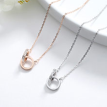 S925 Silver Necklace Women's Fashion Korean-style Rose Gold Circular Ring Buckle Necklace Shuanghuan Diamond Set Short Choker Se(China)