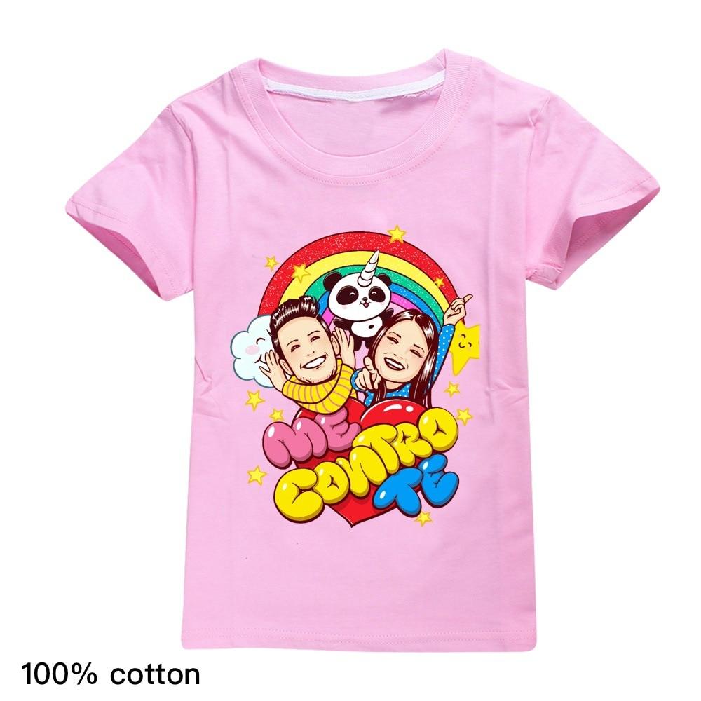 Cartoon Style Girls Tops T-Shirts Summer Me Contro Te Print Children Short Sleeve T-Shirts Cotton Kids Clothes Fashion Boys Tops
