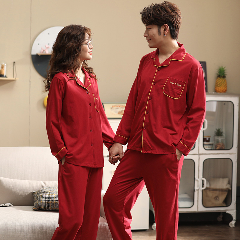 Newlyweds Festive Red Pajamas Couple Cardigan Sleepwear 2pieces Full Pure Cotton Men Pajamas Set Cartoon Cute Home Clothes Women