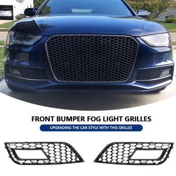 2 pcs Style Glossy Black Front Bumper Fog Light Grilles  for Audi A4  RS4 2013-2016 Car accessories Front Bumper Fog Light New