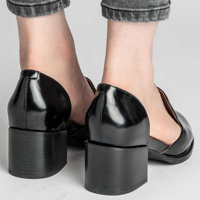 Vrouwen Slip-On Mid Hakken Vrouw Twee Stuk Schoenen Dames Office Classic Vierkante Hakken Vrouwelijke Casual Puntschoen vrouwen Plus Size