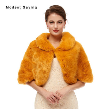 Elegant Deep Yellow Evening Party Faux Fur Shawls 2020 New Arrival Prom Lapel Collar Stoles Warm Shrugs Wedding Accessories