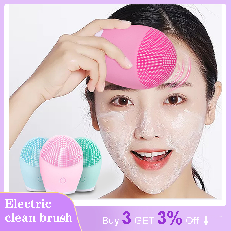 Face Cleansing Brush Facial Cleanser Foreoing Silicone Scrub Pore Washing Exfoliator Brush Skin Care Sonic Massager For Face