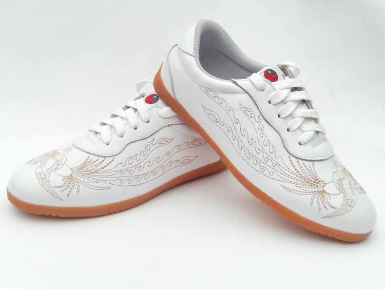 للجنسين جلد البقر التطريز التنين فينيكس الكونغ فو وشو تاي تشي أحذية تدريب فنون الدفاع عن النفس أداء الأحذية