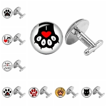 2019 New Cute Cat Claw Silver Cufflinks Gothic Cartoon Anime Glass Convex Round Mens To Send Gift Jewelry
