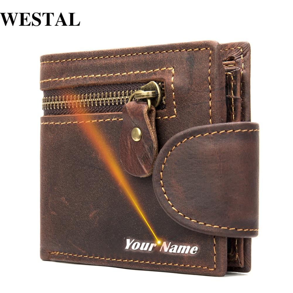 WESTAL Engraving Men's Wallet Genuine Leather Purse For Men Leather Wallet Clutch Short Slim Wallet For Cards Coin Purse Men 704