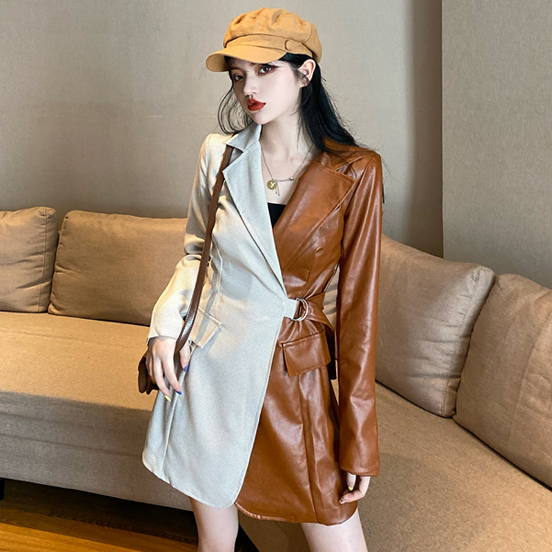 Woman Coats Long Sleeve Turn-down Collar Korean Style Office Lady Pu Color Matching Suit Female Long Coats 2020 Spring Fashion
