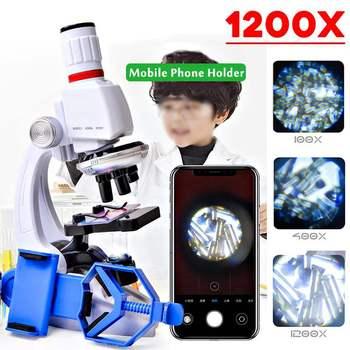 Mini 100X 400X 1200X zestaw mikroskopu dla dzieci z uchwytem na telefon Student edukacja naukowa laboratorium badawcze zabawki prezent tanie i dobre opinie ZEAST 500X-1500X Wysokiej Rozdzielczości Handheld PORTABLE Cyfrowy Mikroskop biologiczny Z tworzywa sztucznego Above 3