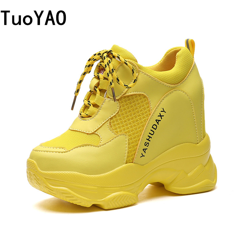 Women Platform Sneakers 2019 Spring Breathable Mesh Shoes Women Wedges Heels Casual Shoes 11 CM Thick Sole Trainers Green Shoes