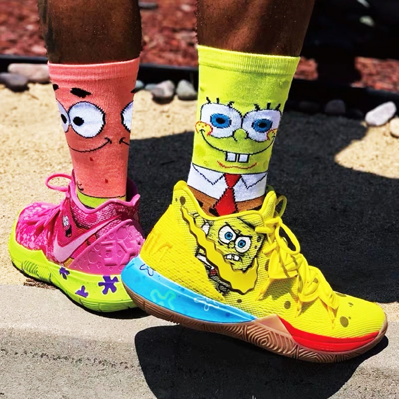 Unisex Cartoon Socks Women Men Cotton Crew Long Basketball Socks Hip Hop Sponge Socks Bob Patrick Star Short Sock Streetwear
