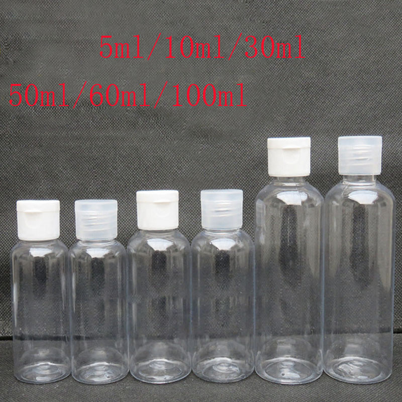 100pcs 5ml - 100ml Plastic PET Clear Flip Lid Lotion Bottles Cosmetic Shampoo Sample Containers Travel Liquid Refillable Vials
