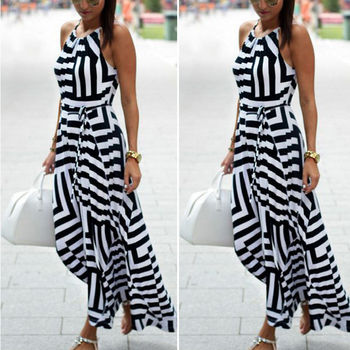 2018 New Product Womens Maxi Boho Floral Halter Sleeveless Summer Beach Long Striped Dress