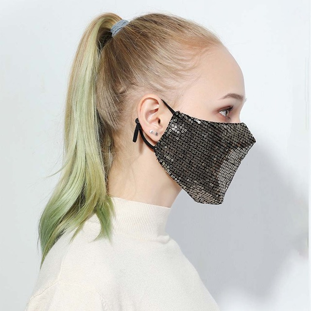 Fashion Bling Bling Sequins Face Mask Party Shinee kpop anti dust face mask Washable Reuse  Elastic Earloop Mouth Mask 1