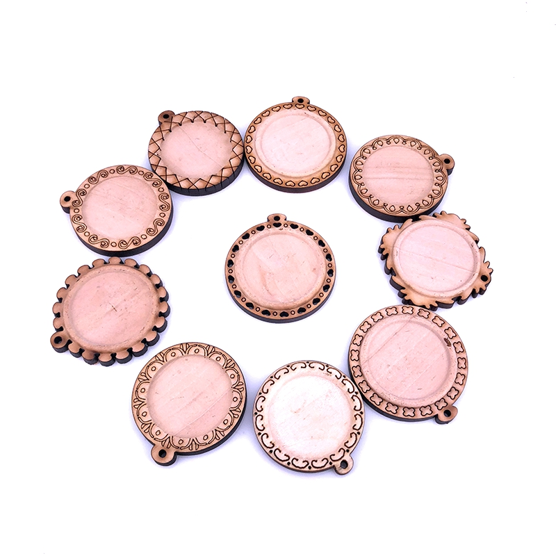 (10PCS/LOT) Round Wood Cabochon Setting For 25mm Cabochon Glass Dome Wooden Cameo Base DIY Pendant For Jewelry Making A001