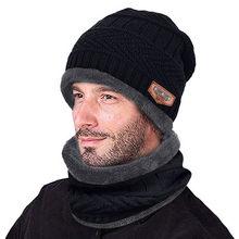 Hommes chaud Bonnet Hiver épaissir chapeau et écharpe deux pièces tricot coupe-vent casquette Hiver accessoires pour homme Bonnet Garcon Hiver # T2