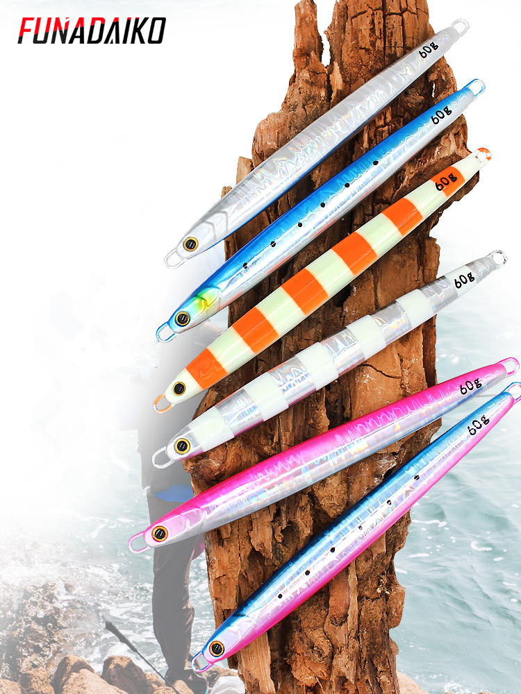 Funadaiko chumbo jig isca artificial jig de pesca metal jig jigging isca lápis lume lento jig isca de pesca 20g 30g 40g 60g