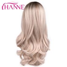 HANNE Ombre Synthetic Wigs High Temperature Fiber Middle Part Long Wavy Wigs For Black/White Women Daywear/Party