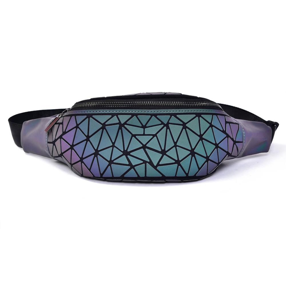 Waist Bags Hot Selling Cheap Price Women Luminous Lattice Pack  Packs Custom Waterproof Chest Bag