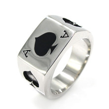 Vintage Rings for Men Rock Band Spades A Poker 316L Titanium Steel Jewelry Ring Retro Style Woman Accesories