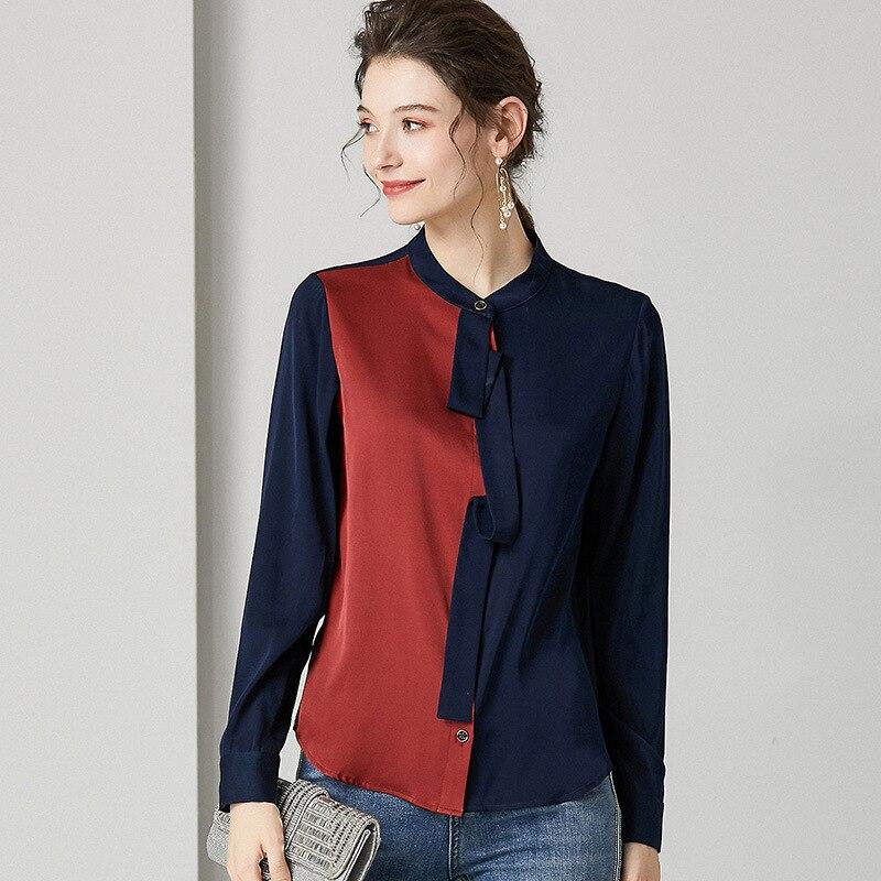 Blusa de seda de calidad superior camisa 2020 estilo primavera mujer bloque de Color Patchwork manga larga marrón blanco elegante camisas de trabajo femenino - 3