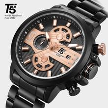 T5 トップブランドの高級ローズゴールド黒クオーツクロノグラフ男性防水スポーツメンズ腕時計メンズ腕時計レロジオ Masculino 腕時計