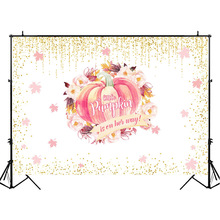 Baby Shower Backdrop Little Pumpkin Photo Background Watercolor Flower Autumn Photography Backdrops