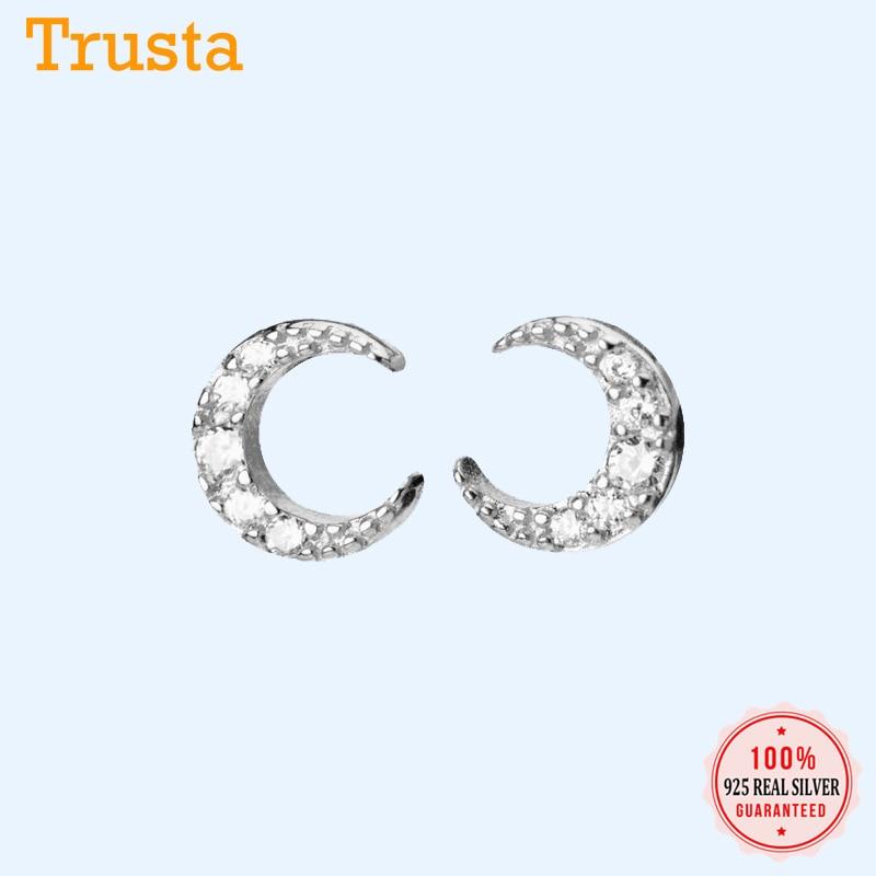 Trustdavis Authentic Minimalist 925 Sterling Silver Sweet Mini Moon CZ Stud Earrings For Women Sterling Silver Jewelry DA899