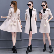 Autumn Coat Women Double Breasted Coat OL Ladies Long Wool Coat Women Plus Size Coat Oversized Overcoat Ladies Woolen Coats cheap WSRYXG Polyester 90 polyester A-Line High Street Pockets Adjustable Waist Patchwork Belt REGULAR Turn-down Collar 4A526