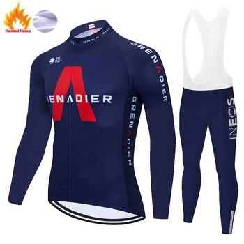 2020 ineos camisa de ciclismo inverno velo térmico manga longa roupa ciclismo equitação ao ar livre calças inverno grenadier ciclismo conjunto 1