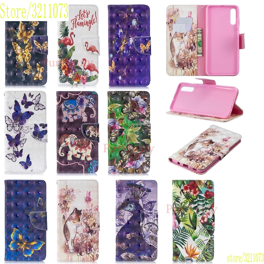 Case For Samsung Galaxy A40 A405 <font><b>A50</b></font> A505 A70 A705 2019 Glossy 3D Painted Leather Wallet Phone Cover Hoesje Caja Tok Kryt <font><b>Capa</b></font> image
