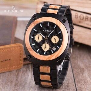 Image 4 - BOBO BIRD Wood Watch Men Stopwatches Handmade Relogio Masculino Japan Movement Quartz Wristwatch Gift for Male erkek kol saati