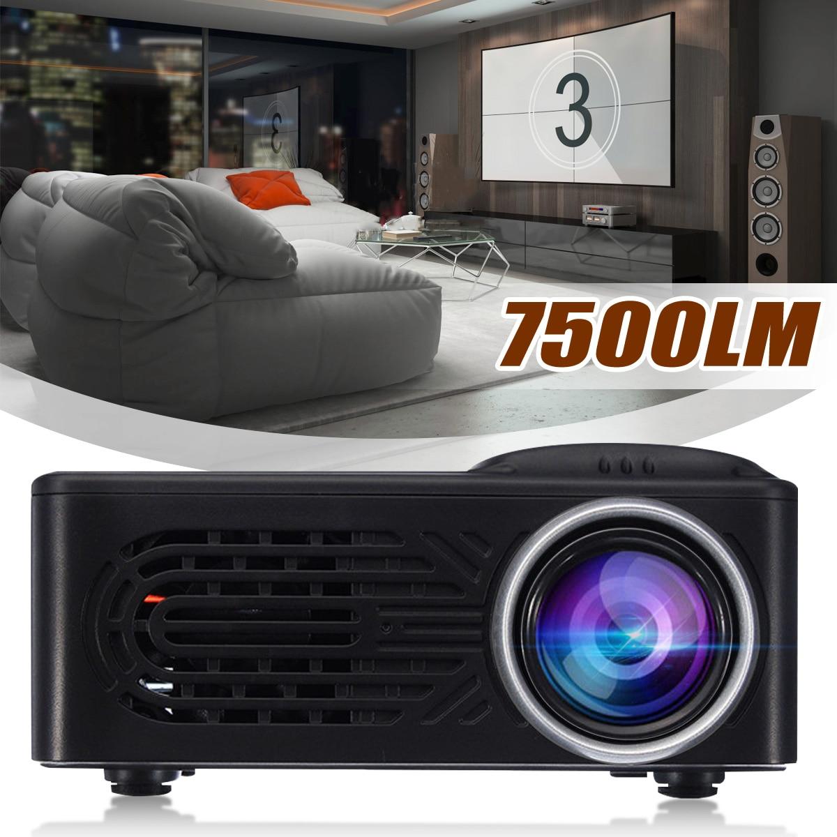 LEORY ใหม่ล่าสุด 7500 Lumens 1080P HD LED โปรเจคเตอร์พกพา 320x240 ความละเอียดมัลติมีเดียโฮมเธียเตอร์ภาพยนตร์ Beamer โร...