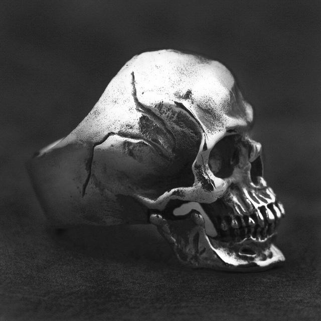 Human Cranium Rings Heavy Gothic Men's Skull 316L Stainless Steel Biker Ring Punk Jewelry