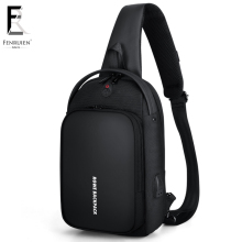 FRN Men Shoulder Crossbody Bag Chest Water Repellent USB Charging Pack Travel Summer Messenger for Sling