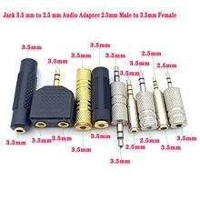 Alta qualidade 3pc ouro 2.5mm macho para 3.5mm fêmea adaptador de áudio estéreo plug converter fone ouvido jack